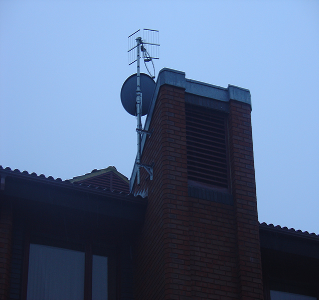 close up commercial satellite and TV aerial installation offices at Guildford