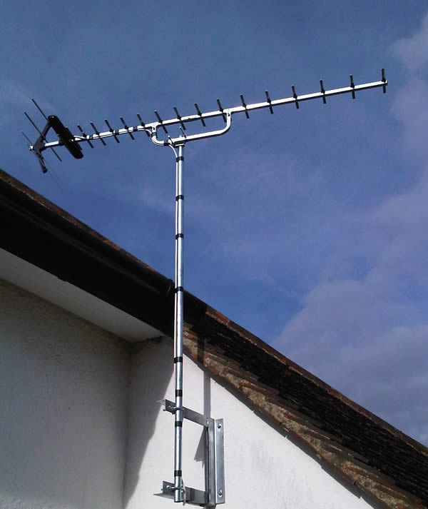 tv aerial installed to wall bracket